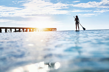Summer Water Sports. Silhouette Of Free Fit Woman Paddling, Stand Up On Paddle, Surf Board In Sea. Holidays Travel Vacation. Healthy Lifestyle. Recreation. Leisure Activity. Freedom, Wellness Concept