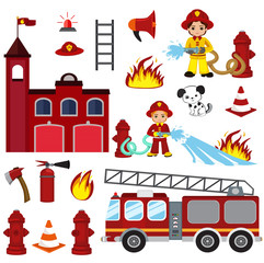 firefighting characters, hose, fire station, fire engine, fire alarm, extinguisher, axe, and hydrant.vector cartoon  illustration isolated on white background.