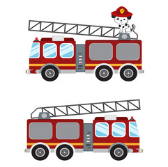 Fire truck cartoon illustration.vector illustration isolated on white background.