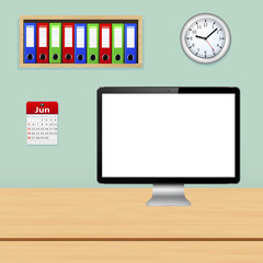 Office interior with computer pc, file folder, calendar and wall clock, vector illustration