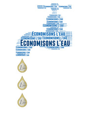 Save water word cloud concept with french text