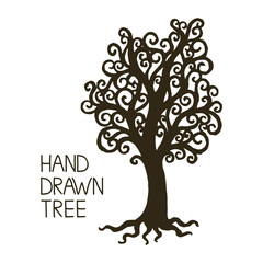 Stylized hand draw vintage old tree with crooked branches