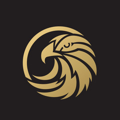 Gold Eagle Vector Logo Template.