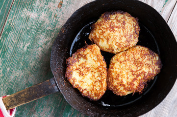 Fresh homemade potato pancakes