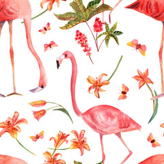 Seamless background pattern with vintage watercolor flamingo bird