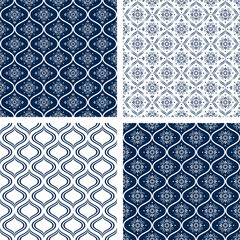 Set of 4 seamless monochrome background patterns, Vector.