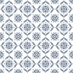 Surface pattern design in blue and white with decorative ornamen