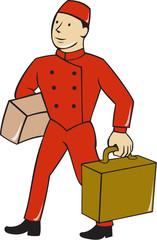 Bellboy Bellhop Carry Luggage Cartoon