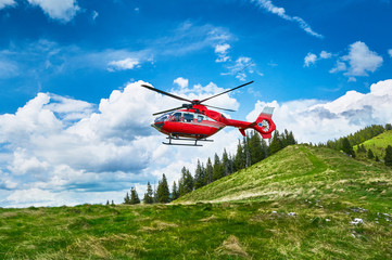 Helicopter takeoff in the mountains