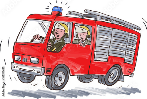 Red fire truck fireman caricature stockfotos und - Camion pompier cars ...
