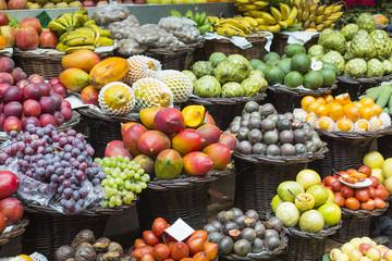 Fresh exotic fruits in Mercado Dos Lavradores.Madeira Island, Po