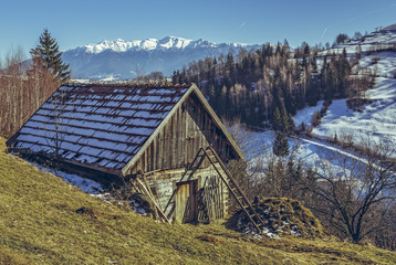 Traditional Romanian wooden rustic shed with pile of manure outside. Traditional farming.