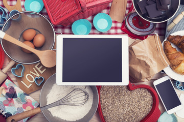 Top view home cooking baking tablet hero header