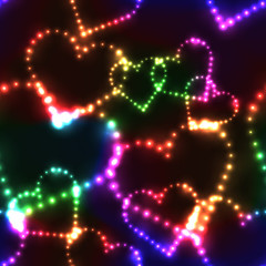 Neon shinning colorful hearts on dark background