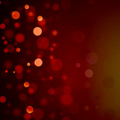 Christmas lights on red background, white bokeh blurred lights on dark red color, elegant blurred falling snowflakes or holiday design