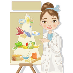 Dietologa con Piramide Alimentare su Sfondo Bianco