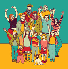 Big happy smiling family standing group color.