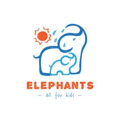Vector cartoon elephant logo. Mother and baby elephants logotype