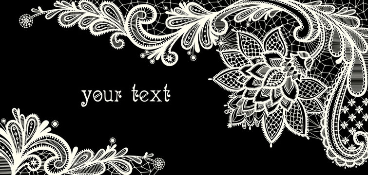 Floral background.  Black and white lace vector design.