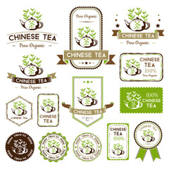 Tea labels set. Chinese tea badges collection.