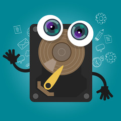 hard drive computer component database big data storage cartoon eyes mascot cute funny smile tech object vector