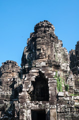 The smiling face of the ancient temple of Bayon Temple At Angkor Wat, Siem Reap, Cambodia