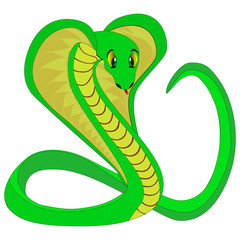 Cute green snake, vector illustration