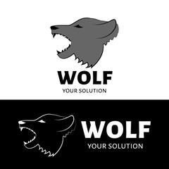 The vector logo of the wolf. Brand logo in the shape of a wolf head