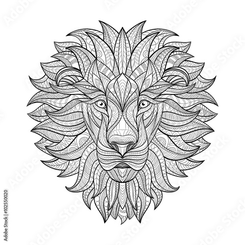 Detailed Lion in aztec style. Patterned head of the lion on isolated background. African indian totem tattoo design. Vector illustration. Eps10.