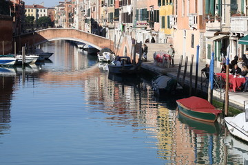 Italy, venice. High Angle View Of Buildings, Canal and Boat