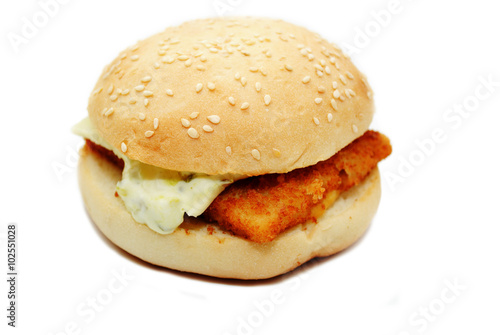 A fast food fish sandwich over white stock photo and for Fish sandwich fast food