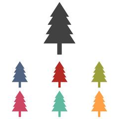 New year tree icons set
