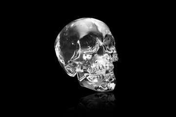 Crystal skull on black at angle ancient South American artifact