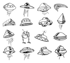 Set of UFOs. Drawing sketch. Vector illustration.