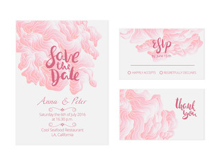 Beautiful wedding set with abstract background. Elegant pink backdrop for perfect gentle wedding.