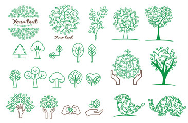 collection of green tree ,logos and icons, vector set of templates , simple and elegant design in linear trend style- tree , the creator of customized business park