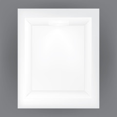 VECTOR ADS: white gray photo frame on Isolated gray background. Mock-up template ready for design.