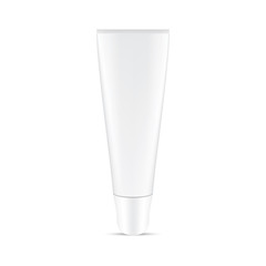 VECTOR PACKAGING: White gray small cosmetic tube with twist to open cap on isolated white background. Mock-up template ready for design