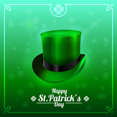 St. Patrick's Day greeting card with leprechaun hat on a green background.