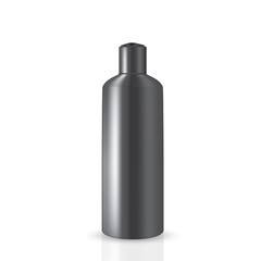 VECTOR PACKAGING: Dark gray tall round bottle with cap press on the top for cosmetic or cologne on isolated white background. Mock-up template ready for design.