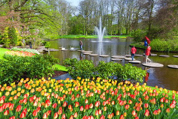 Fototapete - Scenic with lake in Spring Park Keukenhof, Netherlands