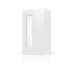 VECTOR PACKAGING:White gray packaging box with front thin window on isolated white background. Mock-up template ready for design.