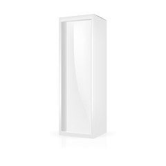 VECTOR PACKAGING: White gray tall packaging box with front plastic window on isolated white background. Mock-up template ready for design.