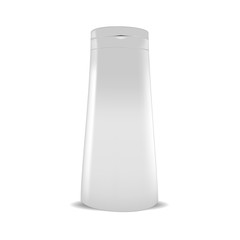 VECTOR PACKAGING: White gray plastic bottle of beauty products or body care on isolated white background. Mock-up template ready for design