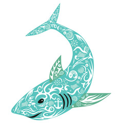 shark with drawing on a body, an illustration of the sea predator, fins with drawing, the picture on a children's subject, large sea fish, an animal of the wild nature, a vector shark with design