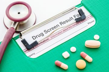 Drugs and drug screen result form.