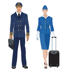 Pilot and stewardess in uniform isolated. Vector illustration