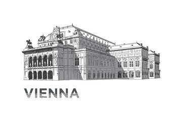 The sketch of State Opera House in Vienna