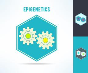 Vector dna epigenetics and genetics mechanism symbol. Cell with gears design element