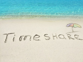 "Inscription ""Timeshare"" in the sand on a tropical island,  Maldi"